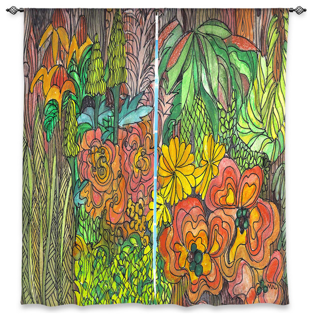 Dianoche Lined Window Curtains By Maeve Wright Tropical Orange And Green Contemporary