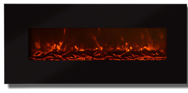 "Valencia 50"" Black Ventless Heater Electric Wall Mounted Fireplace, Log."
