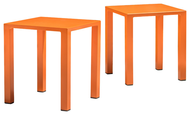 Leeward Outdoor Aluminum 16 Side Table, Orange, Set Of 2.