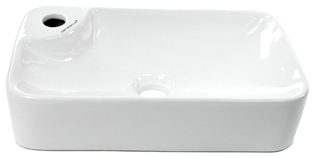 Gorgeous Ceramic Rectangular Vessel Sink, White Contemporary Bathroom Sinks