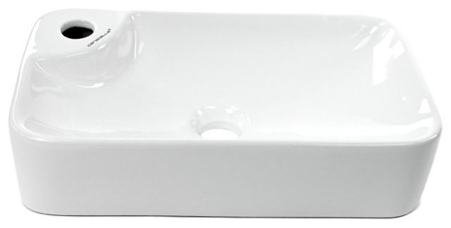 Bon Gorgeous White Ceramic Rectangular Vessel Sink