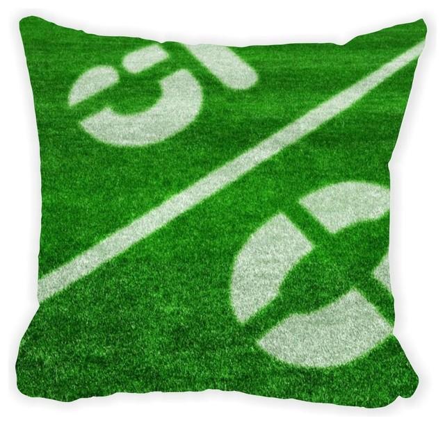 50 Yard Line Football Field Microfiber Throw Pillow