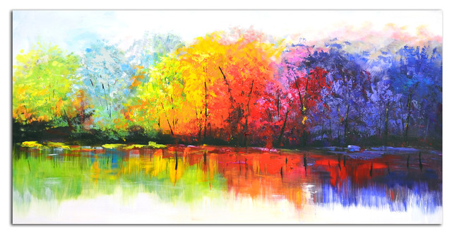 Omax Decor Reflective Rainbow Trees Original Oil