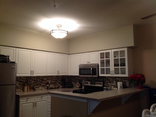 any ideas for wall space above cabinets   rh   houzz com