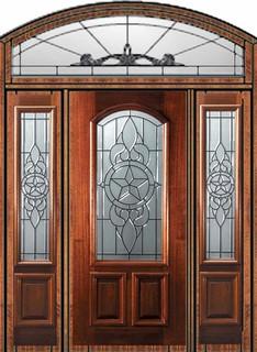 Prehung Sidelights Transom Door 80 Mahogany Brazos Arch