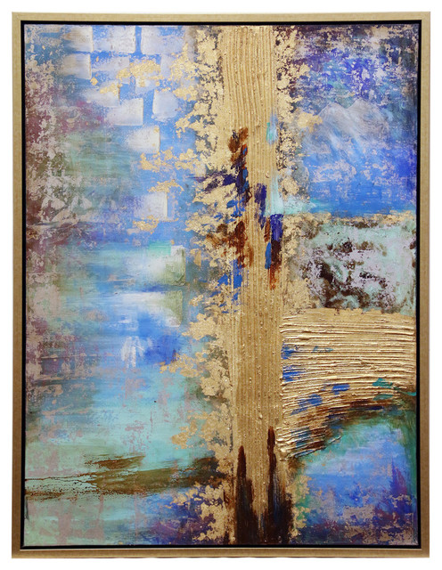 """Largo Framed Canvas Art, Small, Hand Painted Abstract, 1.5"""" Frame."""