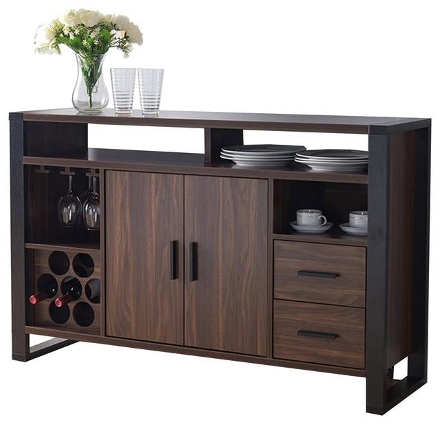 Smart Home 161640 Dark Walnut Black Wine Bar Sideboard Buffet Table