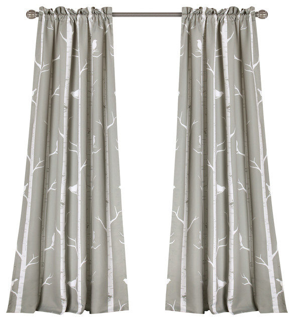 Bird On The Tree Room Darkening Window Curtain Set, Gray. -1