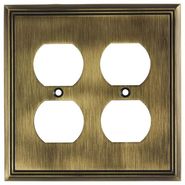 Rok Wall Plate Contemporary Decorative Quadruple Receptacle Outlet