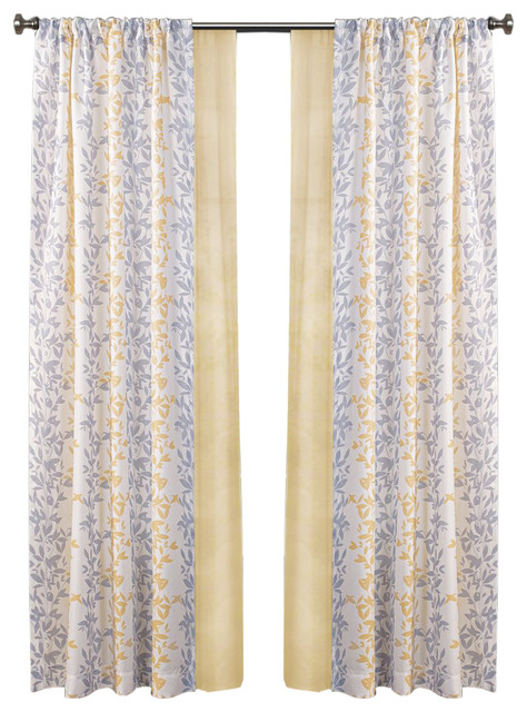 Made4you 4-Pack Leaves Window Panel And Sheer Set, Yellow/gray.