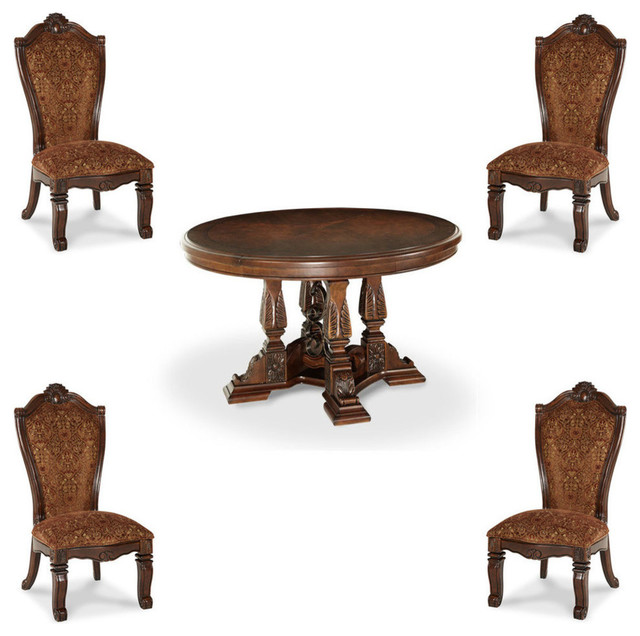 Windsor court 5 piece round dining table set traditional for Traditional round dining table sets
