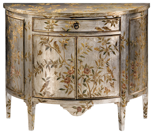 Hand-Painted Demilune Cabinet - Traditional - Buffets And ...