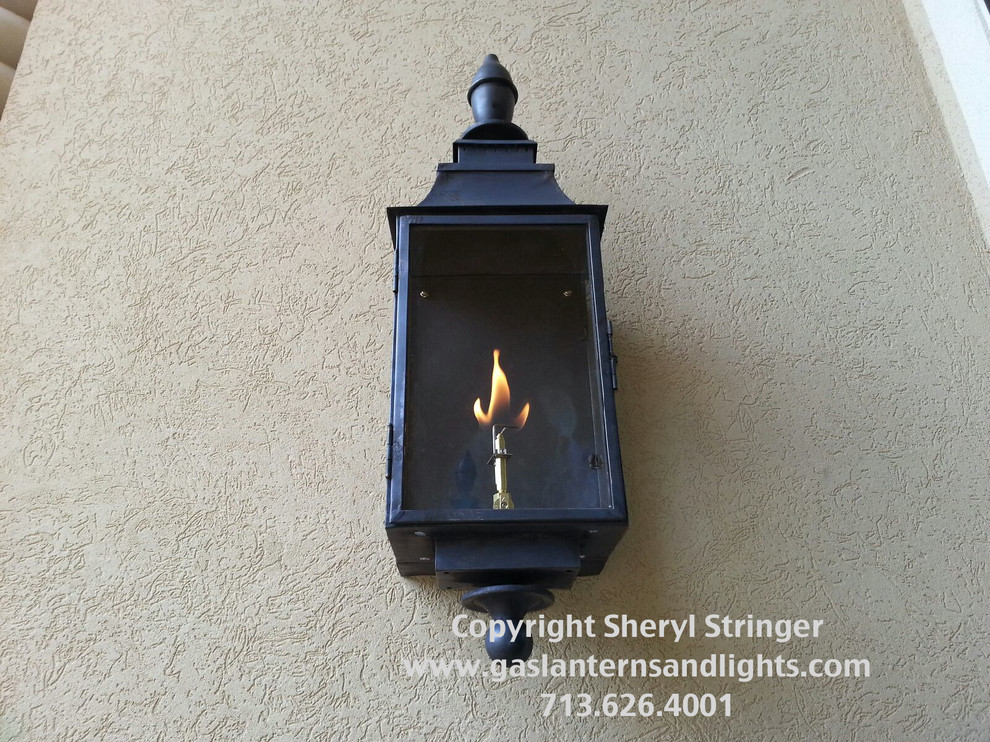 Sheryl's Grande Natural Gas Lantern with Dark Patina Finish