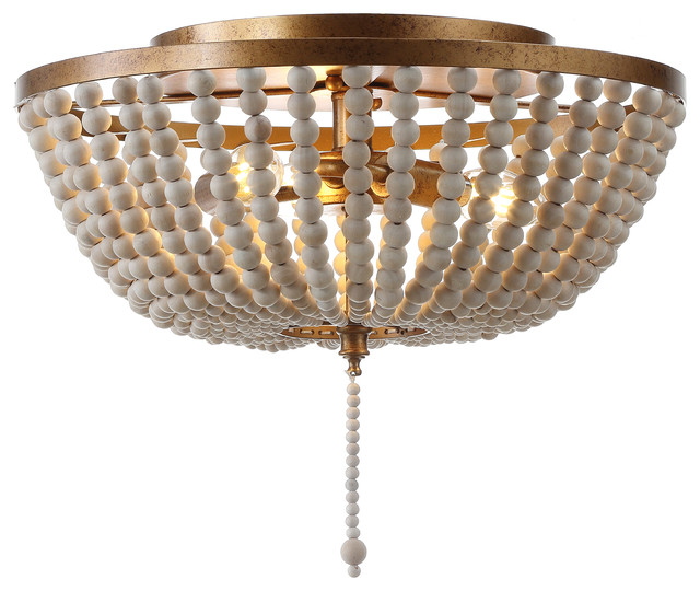 Allison Wood Beaded Led Flush Mount Antique Gold Cream 15