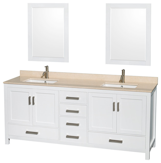 Sheffield 80 Double Vanity Ivory Marble Top Undermount