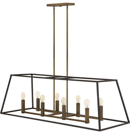 "Pendant 8-Light With Bronze Finish Steel Candelabra Base Bulb 48"", 480w."