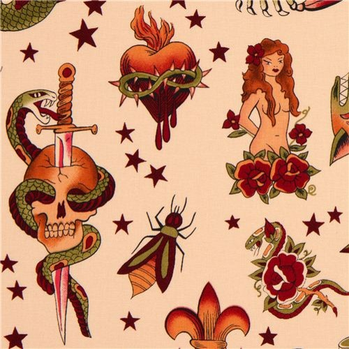 apricot Alexander Henry fabric with tattoo paintings