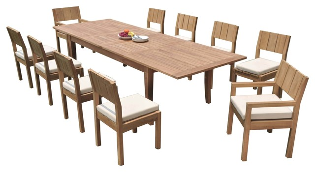 11 Piece Outdoor Teak Dining Set 122 X Large Rectangle Table 10 Vera Chairs Transitional Outdoor Dining Sets By Teak Deals