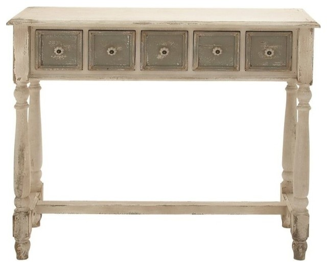 Vintage Styled Fancy Wood 5 Drawer Console Table Eclectic Console Tables