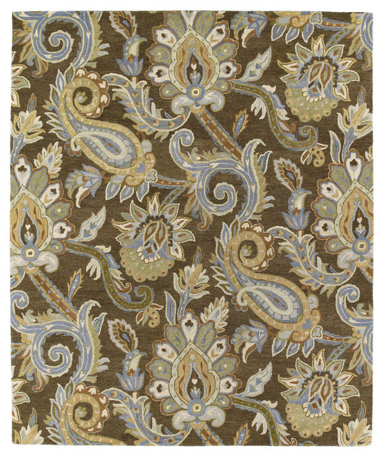 Minonette Hand-Tufted Wool Rug, Brown And Blue, 5&x27;x7&x27;9.