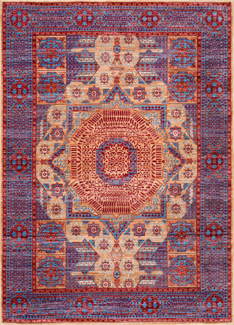 Harmony Imperial Sun Token Area Rugs, Blue, 5&x27;3x7&x27;7.