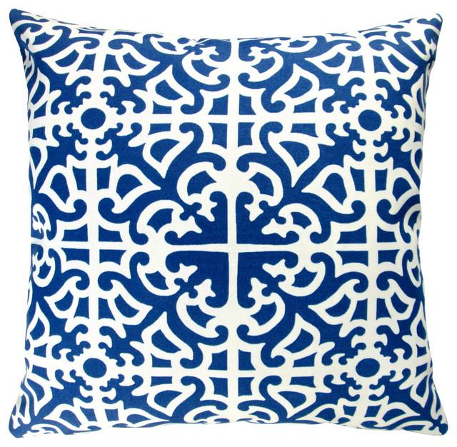 Outdoor Geometric Pillow Covers, Set Of 2, Indigo, Throw Pillow Cover  Contemporary