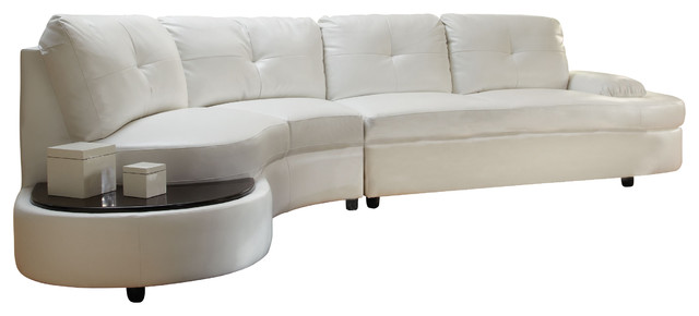 Coaster Talia Bonded Leather Sectional Sofa, White