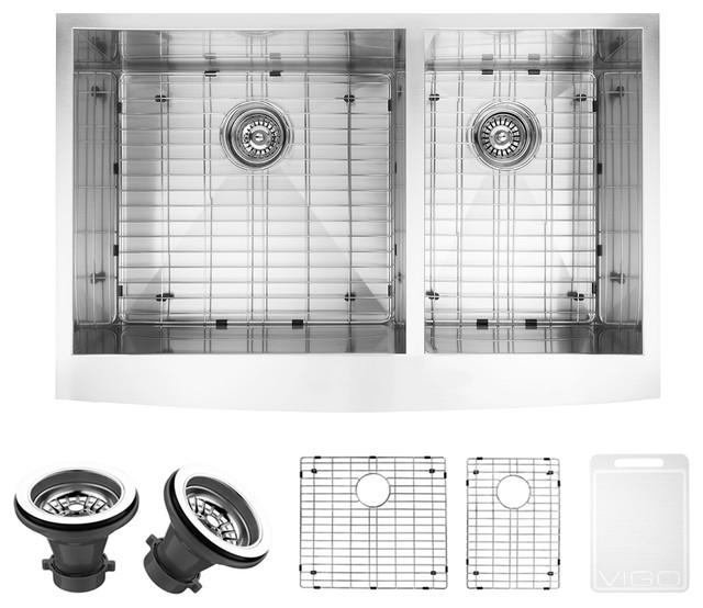 """Vigo 36"""" Chisholm Stainless Steel Double Bowl Farmhouse Kitchen Sink Set."""