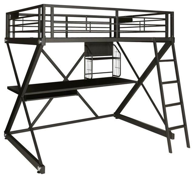 Z-Bedroom Full Size Study Loft Bunk Bed.