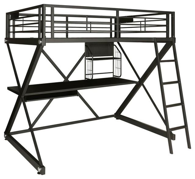 Z Bedroom Full Size Loft Bunk Bed W Study Desk In Black