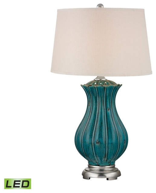 Teal Table Lamps: One Light Off White Linen Shade Tallahassee Teal Table Lamp contemporary- table-lamps,Lighting