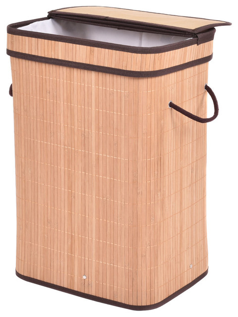 Rect Bamboo Hamper Laundry Basket Washing Cloth Storage Bin Bag Withfolding Lid.