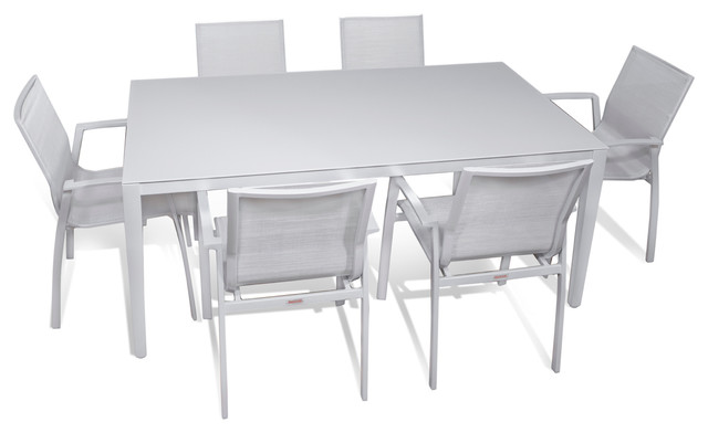 Outdoor Patio Furniture Aluminum Gray Frosted Gl Rectangle Dining 7 Piece Set