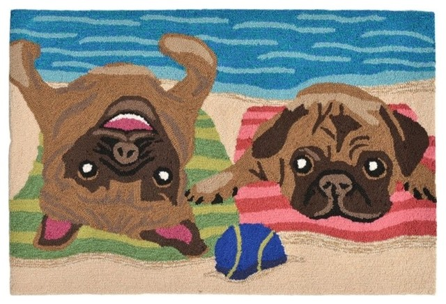 "Liora Manne Frontporch Pug Life Indoor/outdoor Rug, Multi, 20""x30""."