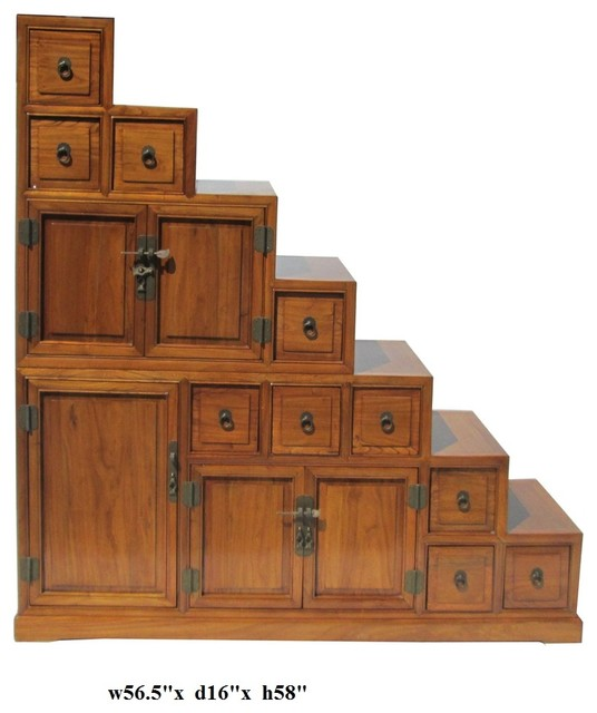 Oriental japanese style step tansu cabinet for Tansu bathroom vanity