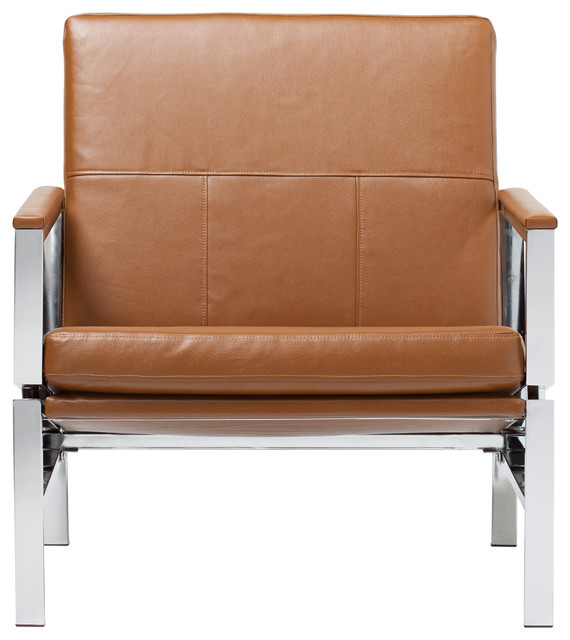 Atlas Bonded Leather Lounge Chair, Brown.
