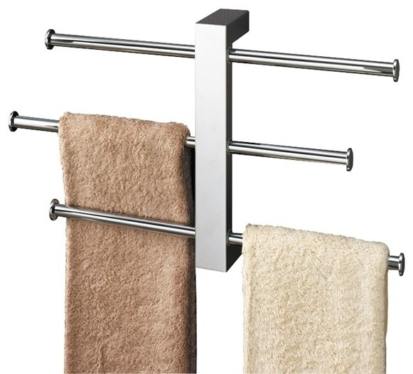 Sliding rails towel rack polished chrome contemporary for Bathroom accessories stand