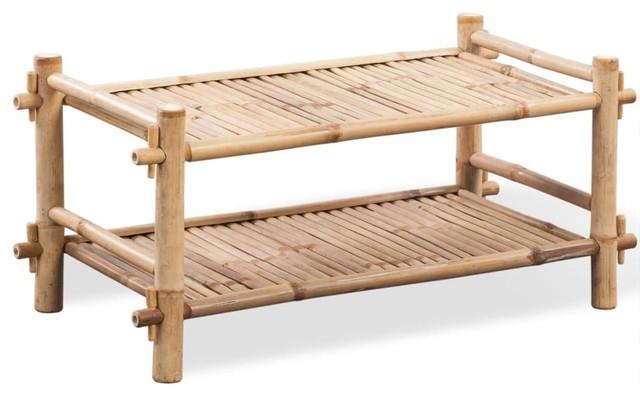 VidaXL 2-Tier Bamboo Shoe Rack