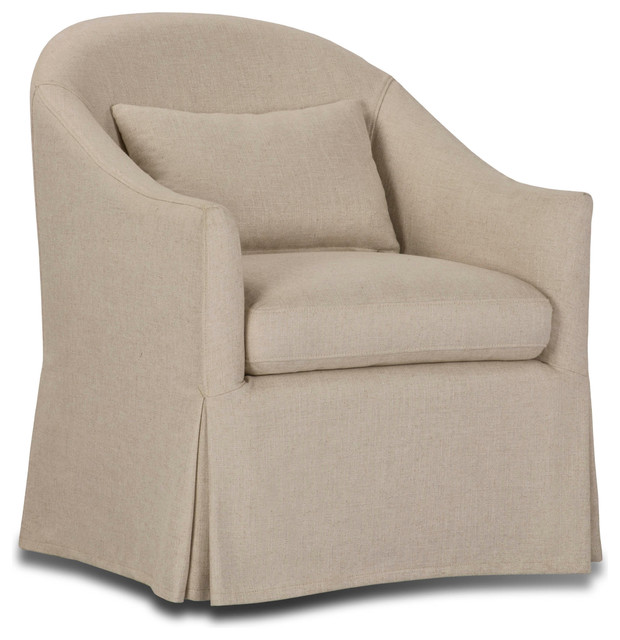 Becky Slipcover Swivel Chair Transitional Armchairs