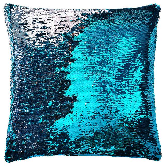 Unique Aviva Two Tone Mermaid Sequin Pillow in Aqua/Silver - Eclectic  QZ33