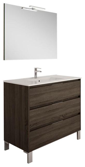 Box 3-Drawer Bathroom Vanity Unit, Britannia Finish, 100 cm