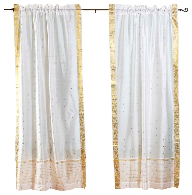 White Rod Pocket Sheer Sari Curtain, Drape And Panel, 43x84, Pair.
