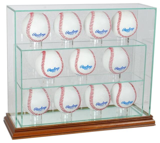11 Baseball Upright Display Case, Walnut