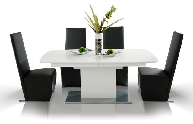 Armani AA818265 White Lacquer Extendable Dining Table With