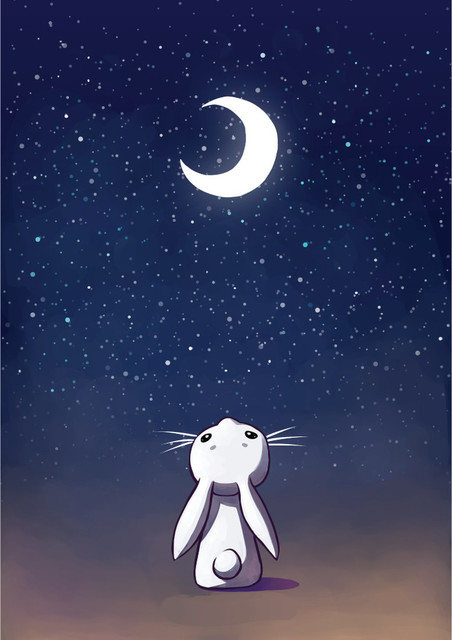 My Wonderful Walls Anime Moon And Rabbit Wall Decal