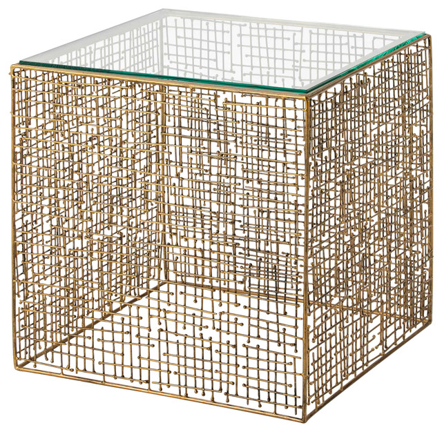 Gold Mesh Square Side Table With Glass Top