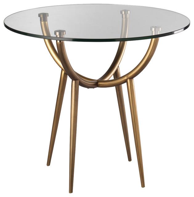 Kiara Modern Clic Round Clear Gl Br Metal Side Table