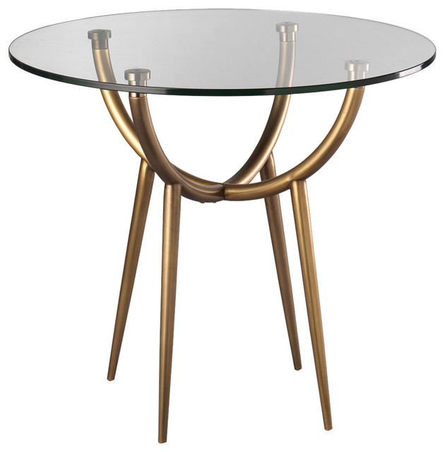 Kiara Modern Clic Round Clear Gl Br Metal Side Table