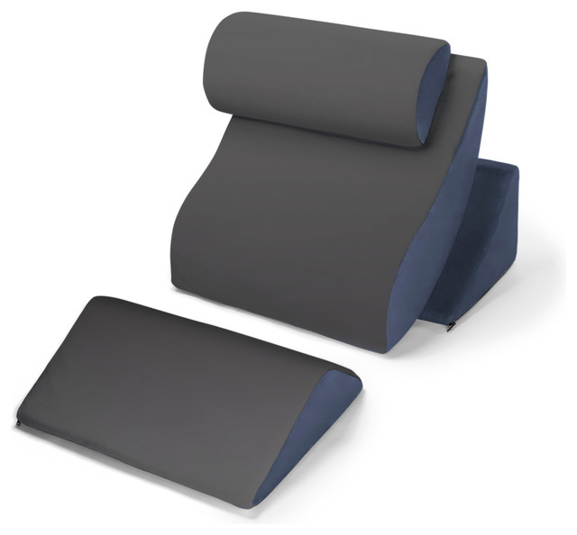 Avana Kind Bed Orthopedic Support Pillow Comfort System, Navy and Gray