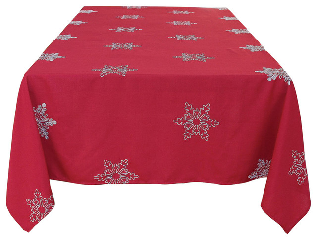Snowy Noel Embroidered Snowflake Christmas Tablecloth - Transitional - Tablecloths - by Xia Home Fashions